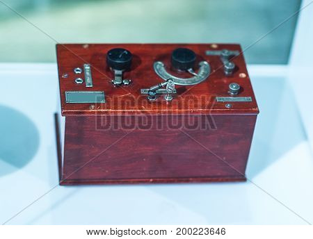 Physics laboratory with Glove Box. Science background