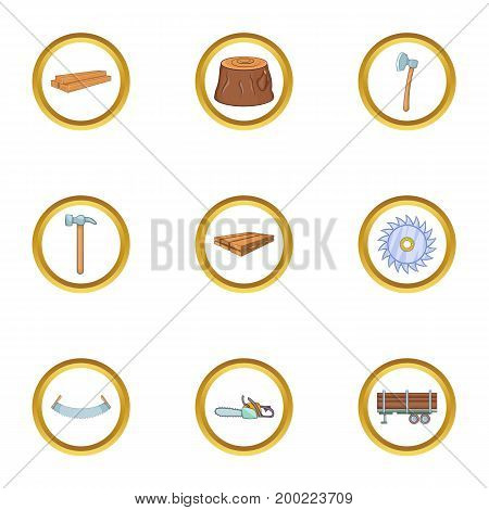 Timber industry icon set. Cartoon style set of 9 timber industry vector icons for web isolated on white background