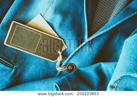 Empty tag brown color label on denim clothing
