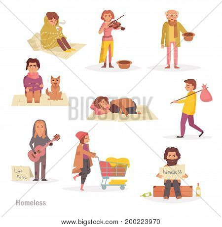 Homeless people. Group, set. Vector. Cartoon Isolated art on white background Flat