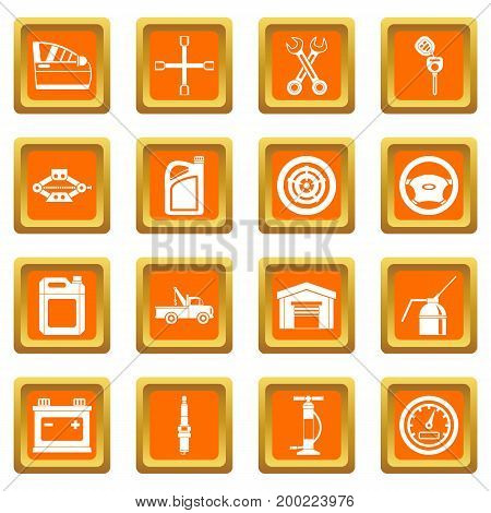 Car maintenance and repair icons set in orange color isolated vector illustration for web and any design