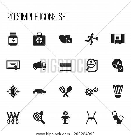 Set Of 20 Editable Mixed Icons. Includes Symbols Such As First Aid Box, Truck, Racket And More