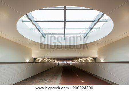 Tunnel for pedestrians and cyclists under Rotterdam Centraal station, Netherlands