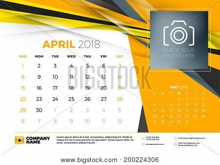 April 2018. Desk Calendar Design Template With Abstract Background. Place For Photo. Yellow And Blac