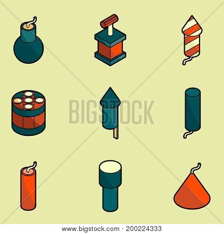 Pyrotechnics color outline isometric icons. Vector illustration, EPS 10