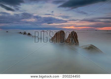Rocks in a calm sea  in Spain