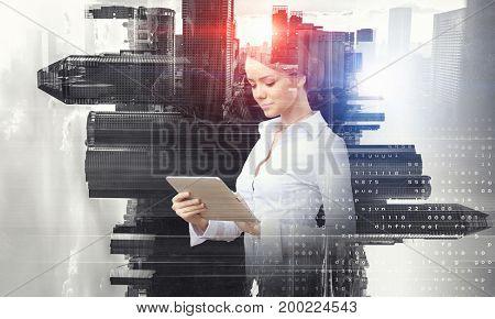Elegant woman use tablet. Mixed media . Mixed media
