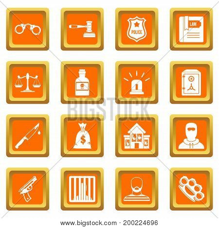 Crime and punishment icons set in orange color isolated vector illustration for web and any design