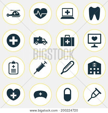Antibiotic Icons Set. Collection Of Bus, Retreat, Database And Other Elements
