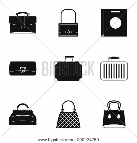 Bags for all occasions icon set. Simple style set of 9 bags for all occasions vector icons for web isolated on white background