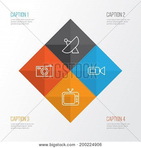 Device Icons Set. Collection Of Antenna, Digital Camera, Camcorder And Other Elements