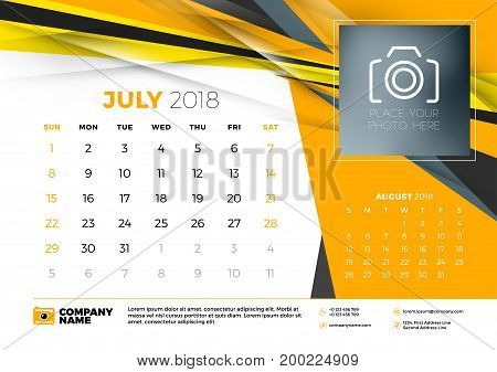 July 2018. Desk Calendar Design Template With Abstract Background. Place For Photo. Yellow And Black