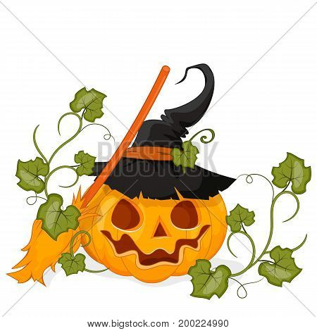Happy Halloween Stock vector. Cartoon pumpkin in a hat smiling. Isolated white background.