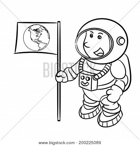Hand drawn sketch of Astronaut isolated Black and White Cartoon Vector Illustration for Coloring Book - Line Drawn Vector