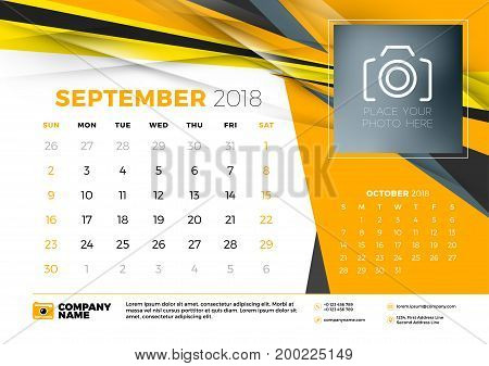 September 2018. Desk Calendar Design Template With Abstract Background. Place For Photo. Yellow And