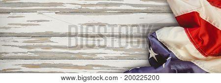 Digital composite of USA flag on wood