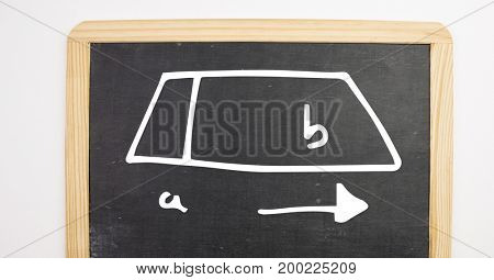 Digital composite of a to b diagram on blackboard