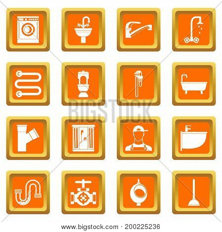 Plumbing icons set in orange color isolated vector illustration for web and any design
