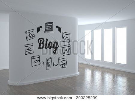 Digital composite of Blog conceptual graphic on 3D room wall