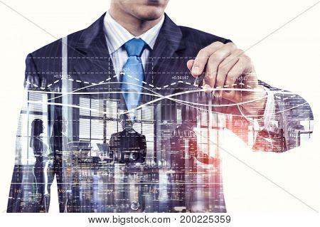 Businessman draw diagrams . Mixed media . Mixed media