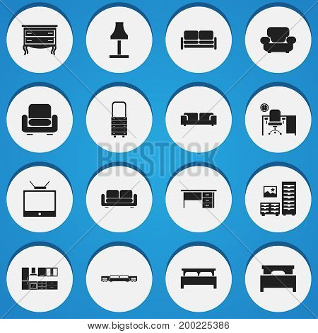 Set Of 16 Editable Furnishings Icons. Includes Symbols Such As Cooking Furnishings, Television, Recliner And More