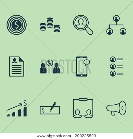 Management Icons Set. Collection Of Presentation, Payment, Woman Resume And Other Elements