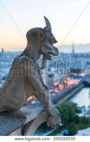 Gargoyle watching Eiffel tower and Paris at dusk, France