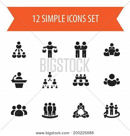 Set Of 12 Editable Business Icons. Includes Symbols Such As Talking Man, Teamwork, Command