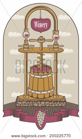 Vector illustration on the theme of the winery. Traditional production of red wine using a press in a wooden barrel in retro style on the background of sky with clouds