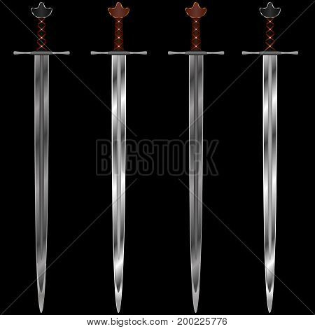 Four medieval swords with leather braid on the arms