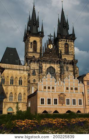Church of Our Lady of Tyn in old town main square of Prague with flowers