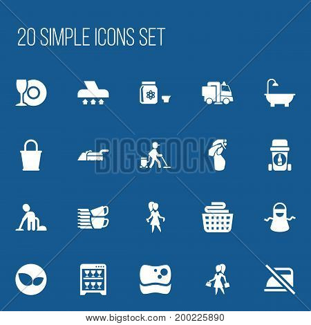 Set Of 20 Editable Cleaning Icons. Includes Symbols Such As Window Cleaner, Exhauster, Kitchen Clothing And More