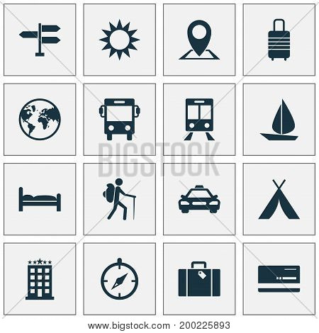 Exploration Icons Set. Collection Of Car, Guide, Sunny And Other Elements