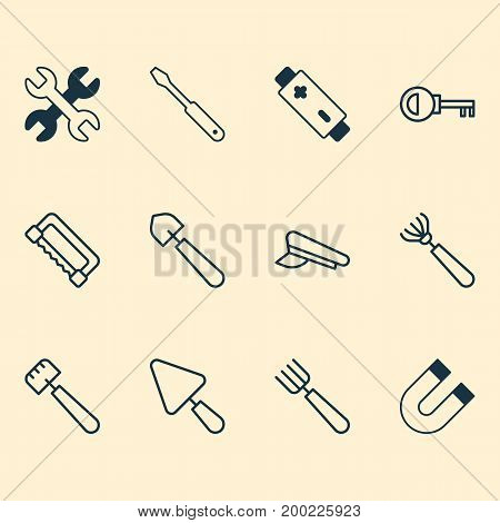 Instrument Icons Set. Collection Of Harrow, Alkaline, Carpentry And Other Elements