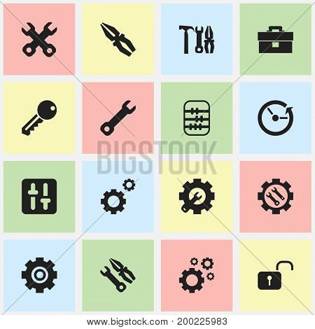 Set Of 16 Editable Mechanic Icons. Includes Symbols Such As Wrench Repair, Mechanic Cogs, Instrument And More