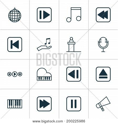 Music Icons Set. Collection Of Octave, Following Song, Following Music And Other Elements