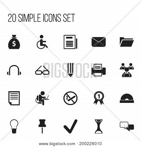 Set Of 20 Editable Bureau Icons. Includes Symbols Such As Compact Disk, Control, Pencil And More