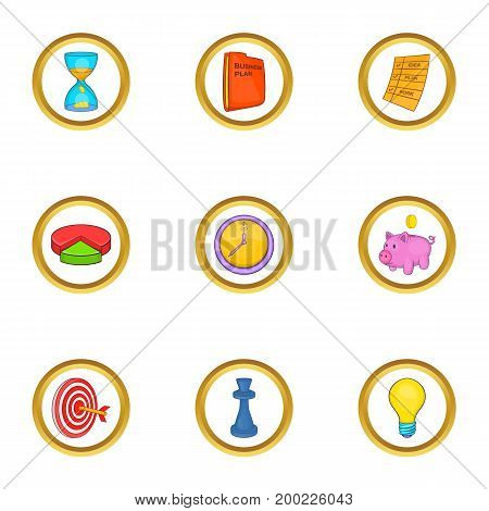Business strategy icon set. Cartoon style set of 9 business strategy vector icons for web isolated on white background