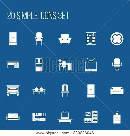 Set Of 20 Editable Furniture Icons. Includes Symbols Such As Seat, Stool, Wardrobe And More