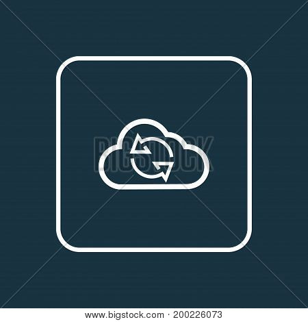 Premium Quality Isolated Cloud Element In Trendy Style.  Synchronize Outline Symbol.
