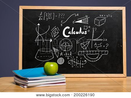 Digital composite of Calculus on blackboard