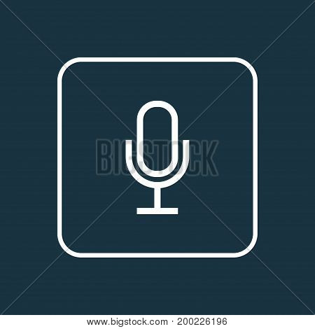 Premium Quality Isolated Audio Element In Trendy Style.  Mike Outline Symbol.