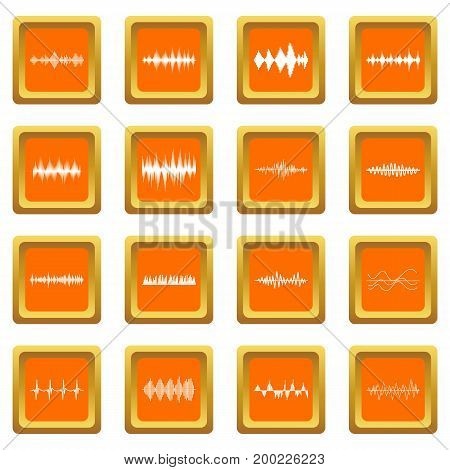Sound wave icons set in orange color isolated vector illustration for web and any design