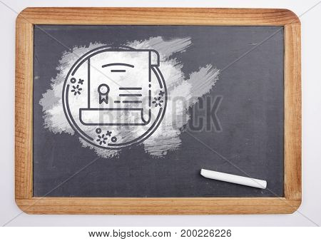 Digital composite of certificate on blackboard with chalk