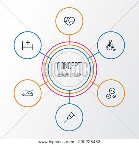 Antibiotic Outline Icons Set. Collection Of Disabled Person, Tent, Drug And Other Elements