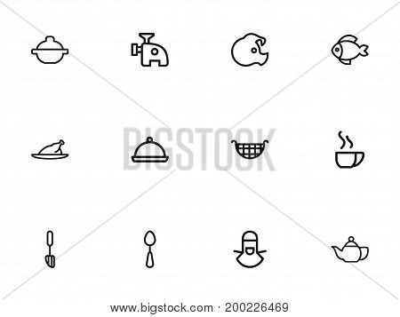Set Of 12 Editable Meal Outline Icons. Includes Symbols Such As Grill, Pig, Cappuccino And More