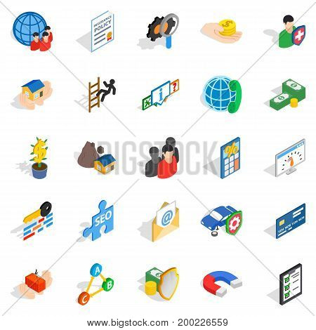 Contact us icons set. Isometric set of 25 contact us vector icons for web isolated on white background
