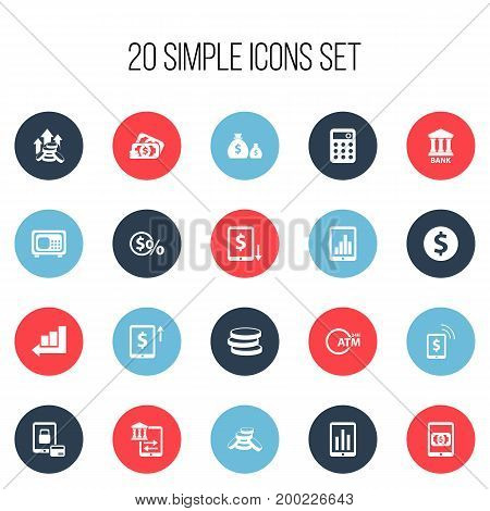 Set Of 20 Editable Financial Icons. Includes Symbols Such As Calculator, Safe, Decrease And More