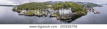 Aerial skyline of the beautiful historic harbour village of Crinan, Argyll, Scotland