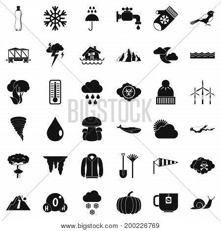 Rainy cloud icons set. Simple style of 36 rainy cloud vector icons for web isolated on white background